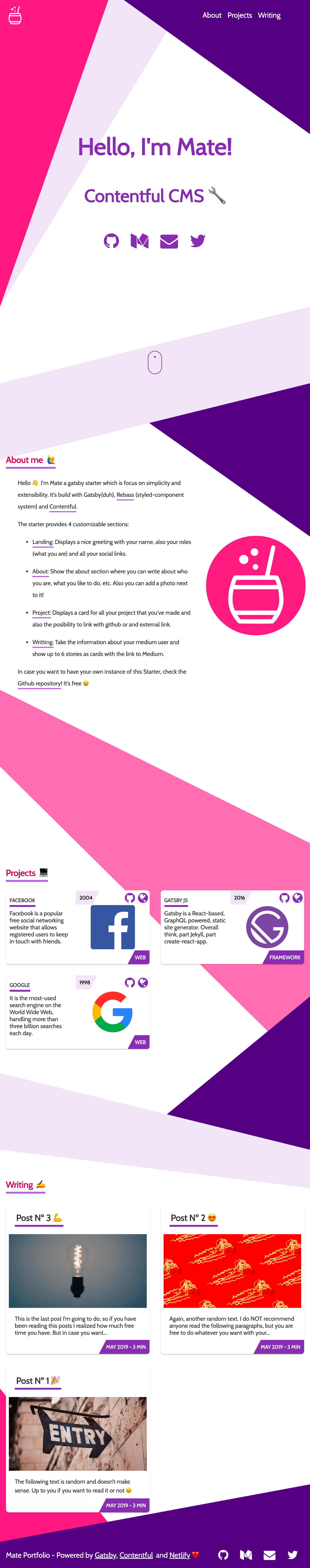 Gatsby Starter Mate — Landing Page