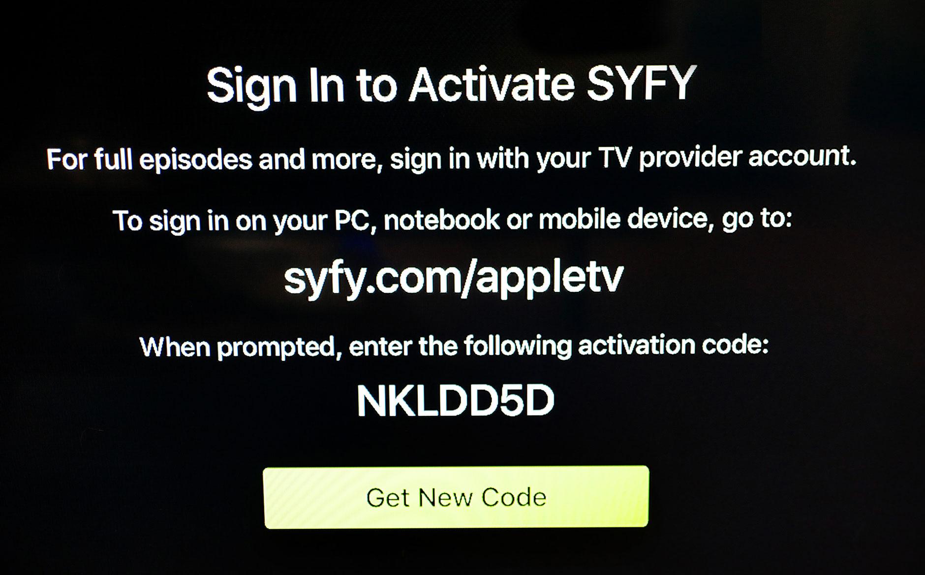 Syfy login screen on an AppleTV