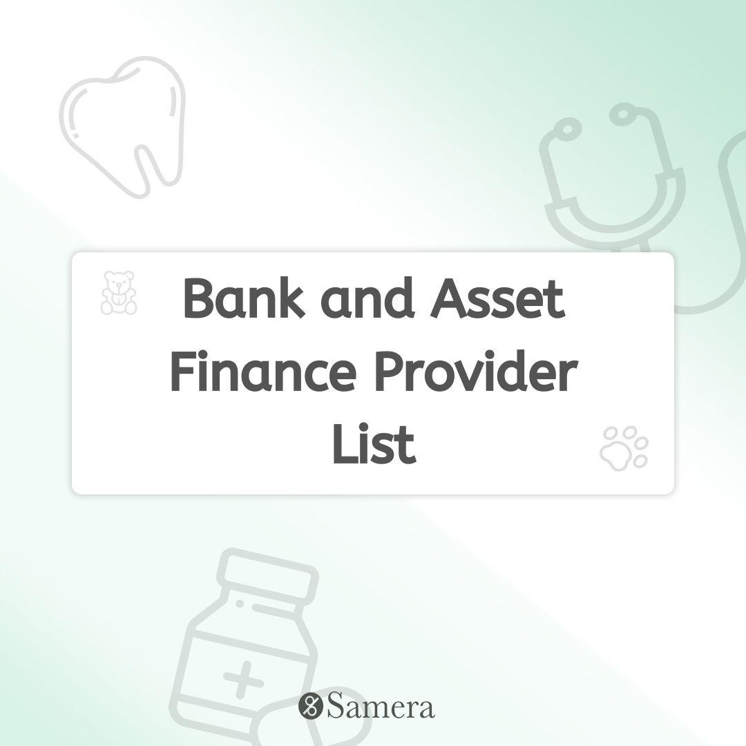 Bank and Asset Finance Provider List