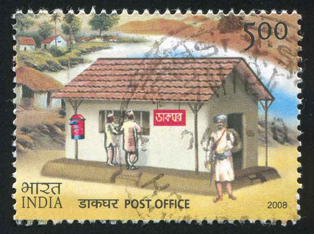 Stamp printed by India, shows post office