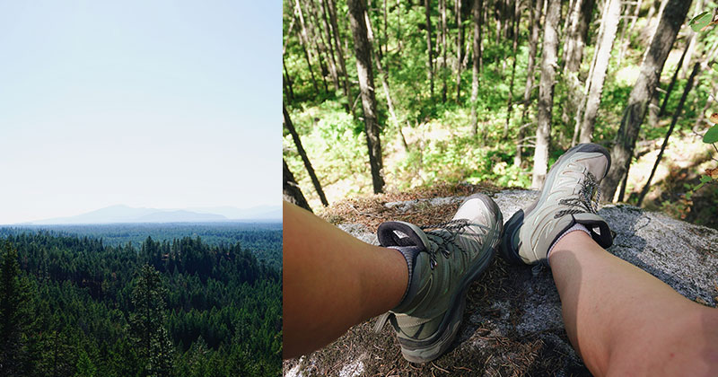 Left: National Forest Primitive Camping. Right: Hiking in Farragut State Park