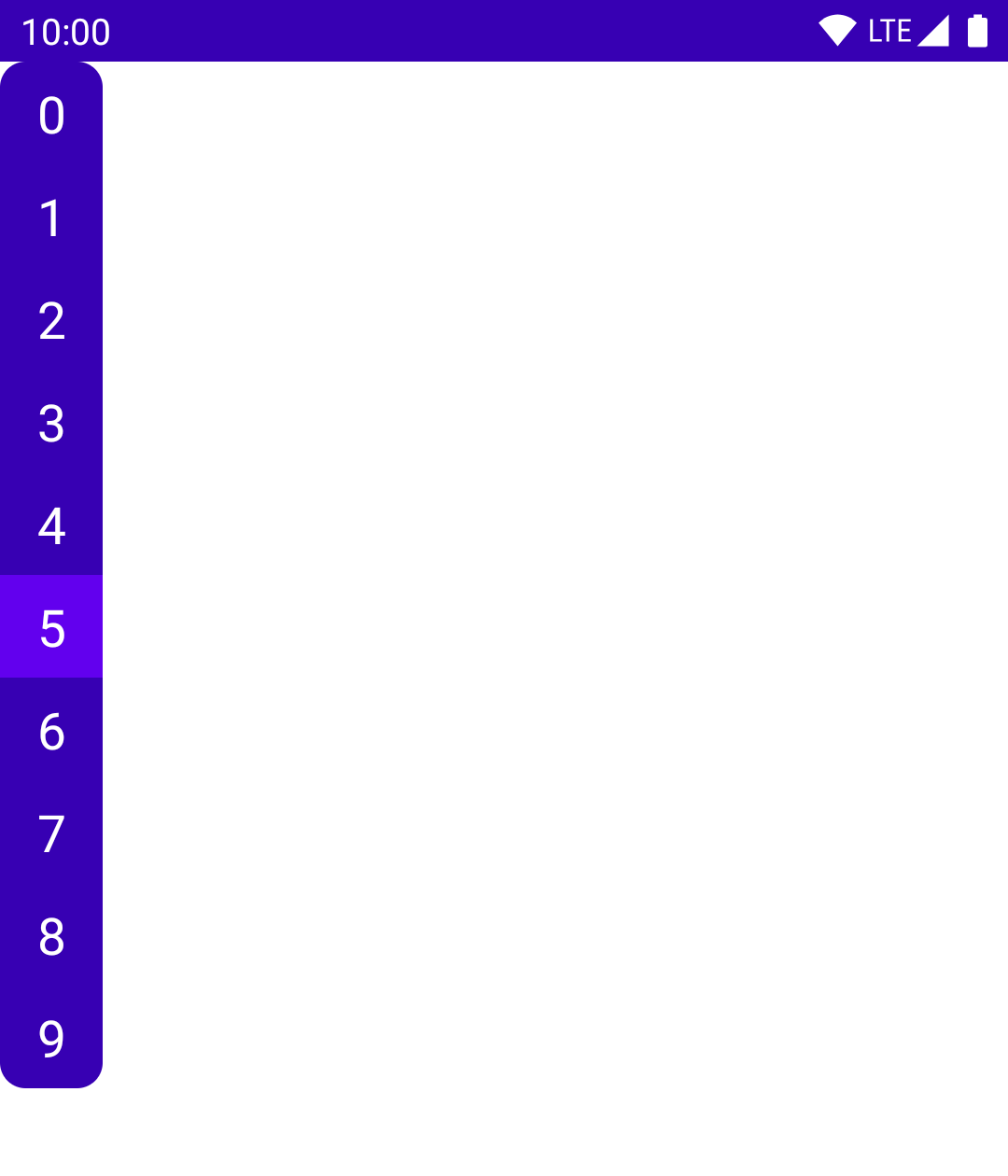 A column of digits, with one selected