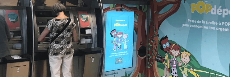 ATM with self-serving ordering kiosk.