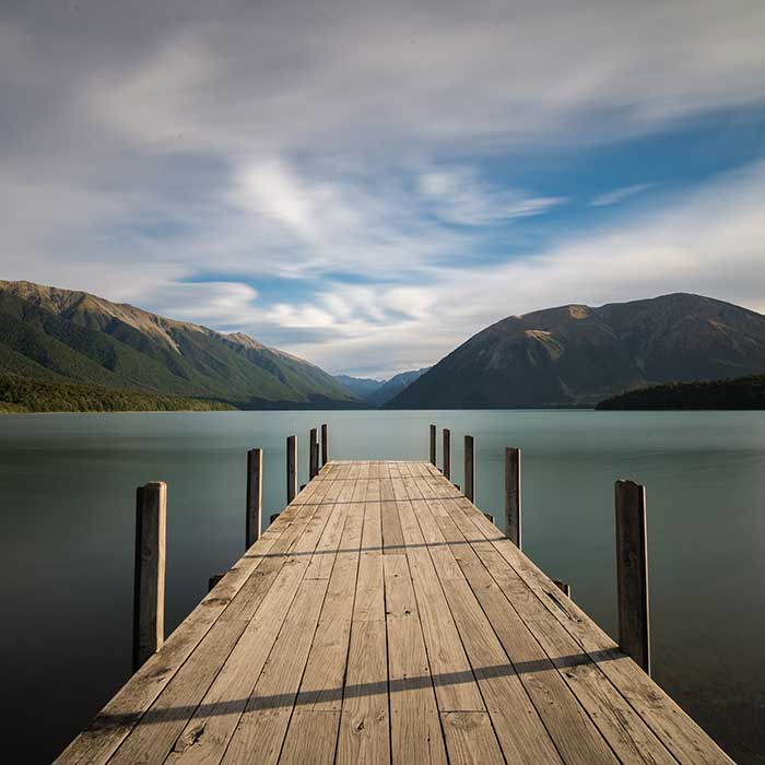 The pier at Lake Rotoiti, Nelson Lakes National Park, New Zealand