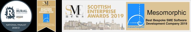 Amazon Business Award Finalist 2020/2021, SME News 2020 and SME News 2019 award logos