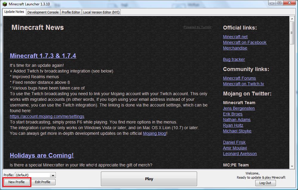 Minecraft Launcher new profile button