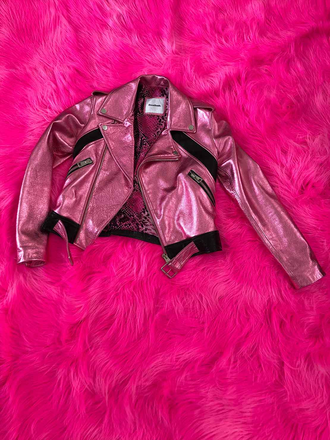 COCOCLOUDE - laminated leather jacket Pink