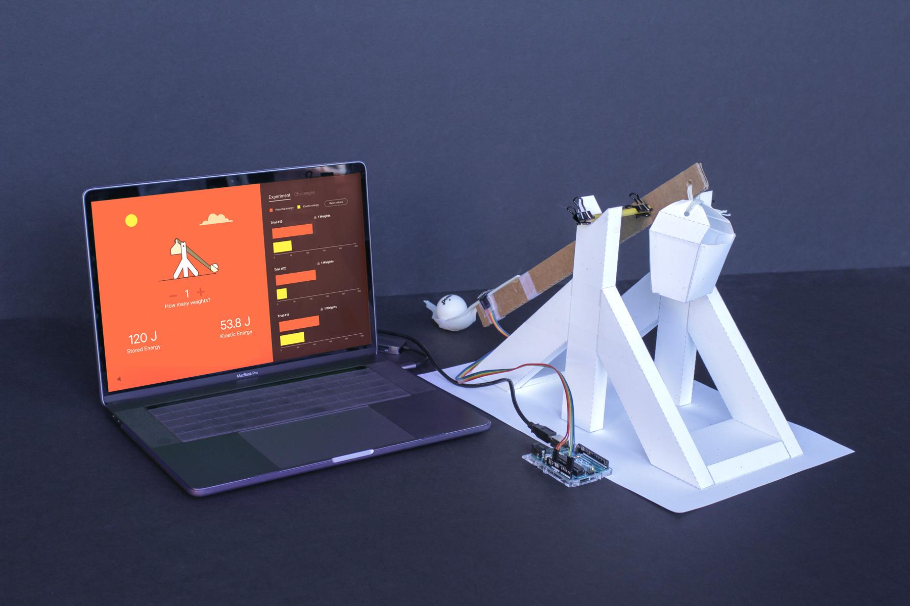The trebuchet, Arduino setup, and digital interface