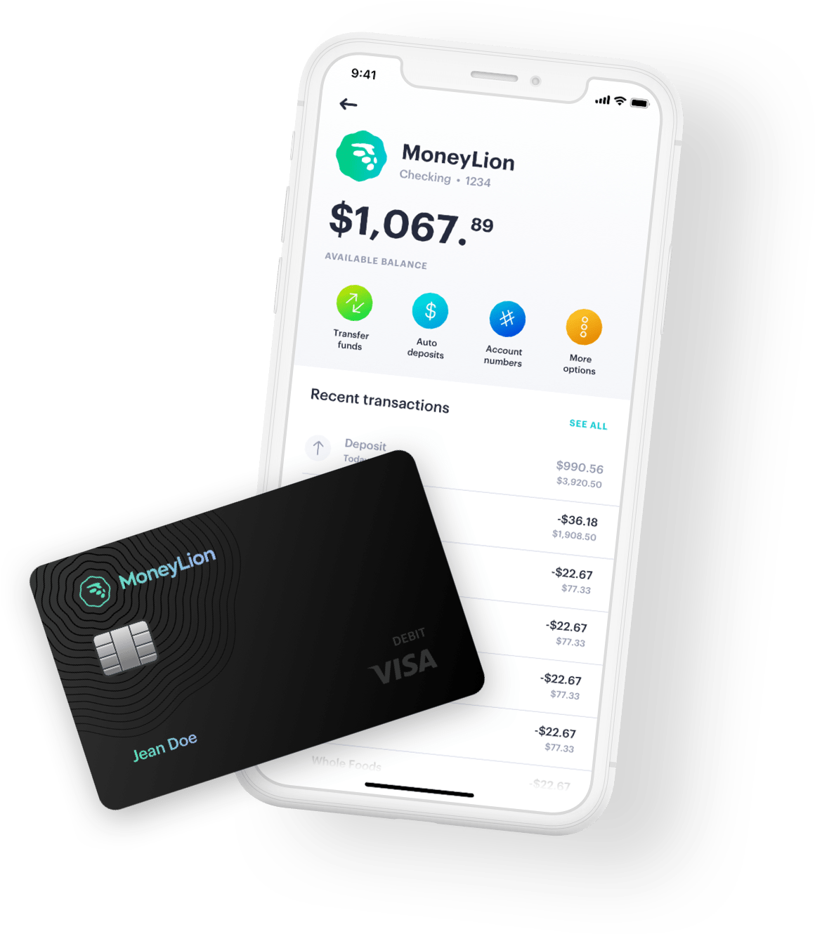 moneylion ui in iphone x with moneylion visa card on top