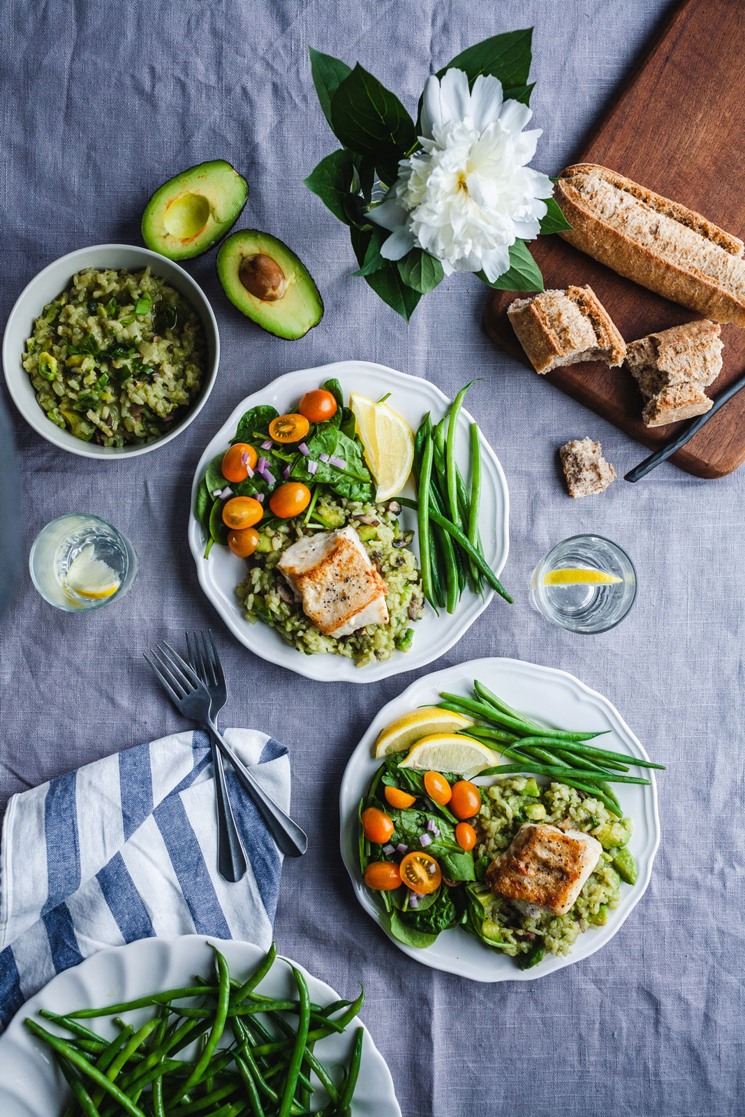 Lemon Pan-Seared Halibut With Avocado Risotto