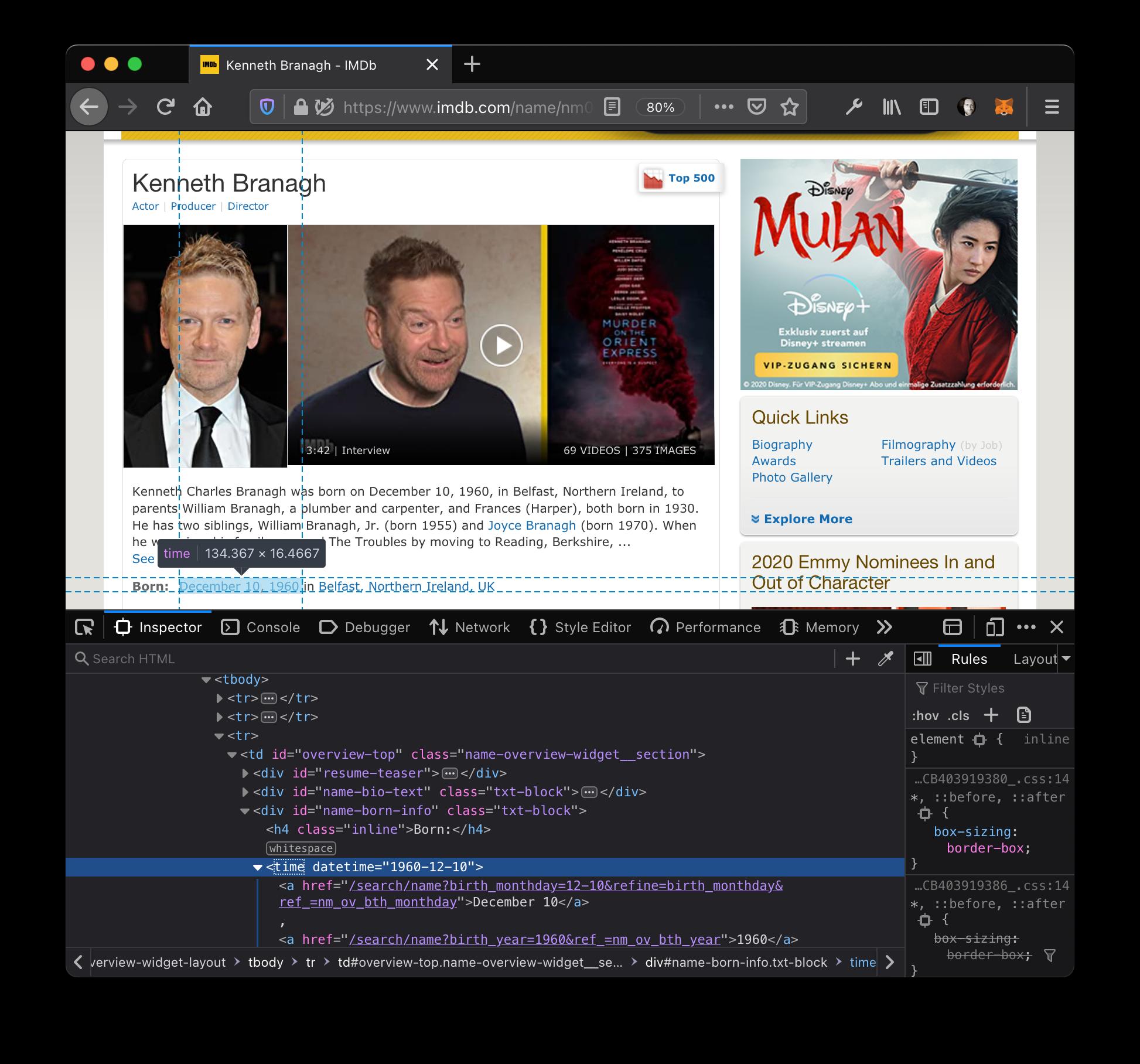 IMDB HTML structure