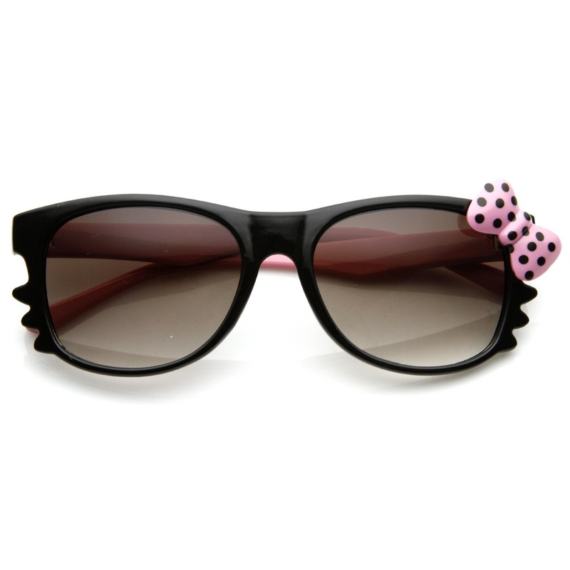 Hello Kitty Black Double Pink Polka Dot Bow Sunglasses