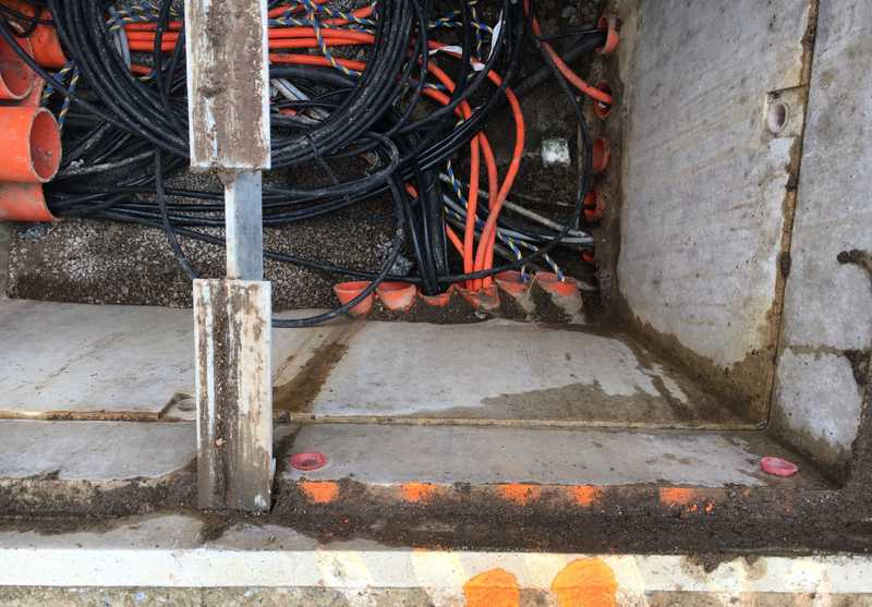 underground pit of power cables