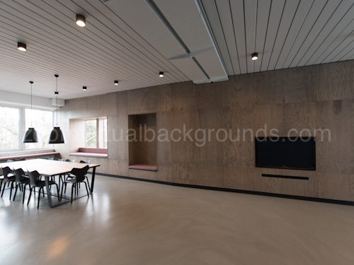 Modern Workspace Virtual Background for Zoom with polished concrete floor and muted lighting