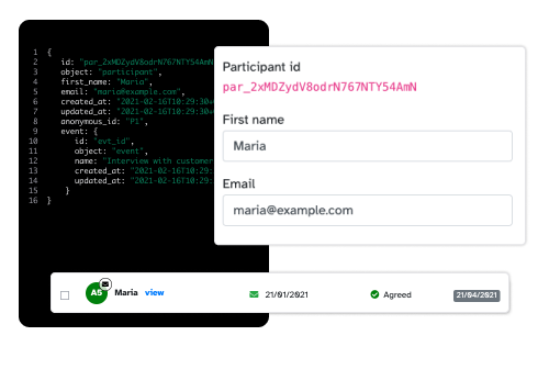 Code sample with dashboard entry for user research participant and participant data