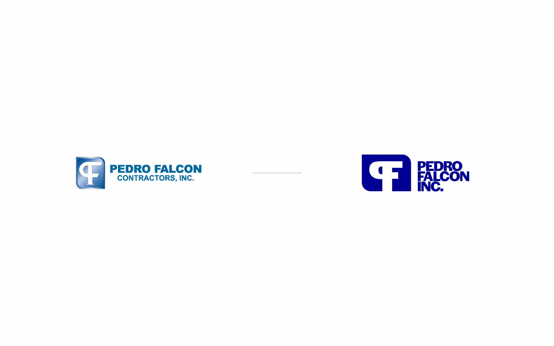 New Pedro Falcon Contractors logo next to the old one