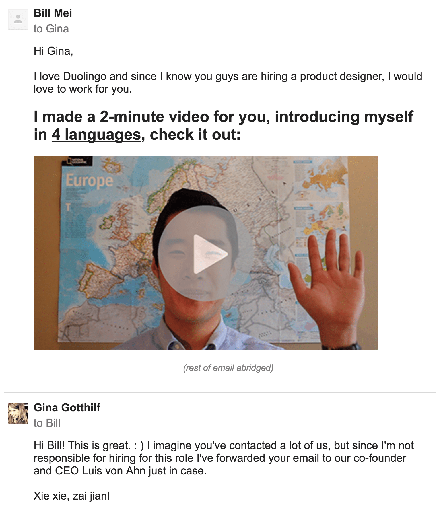 The email I sent to Duolingo to apply for a job