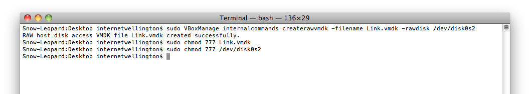 The required commands run in Terminal