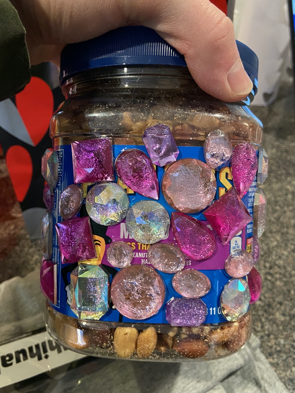 Casey's bejeweled nut gift.