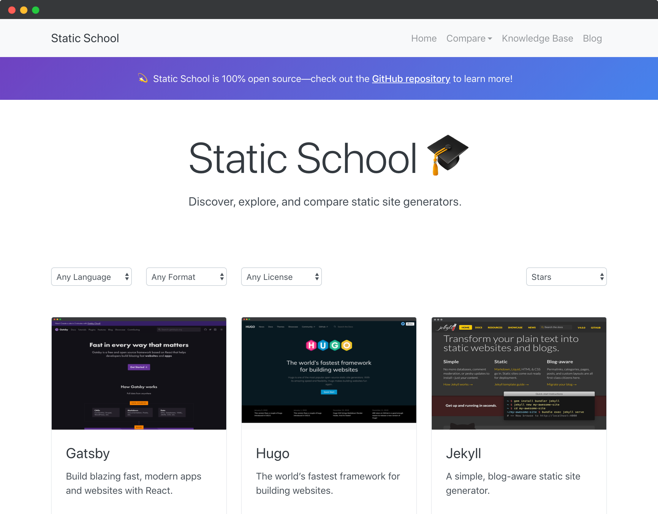 An image of Static School's homepage