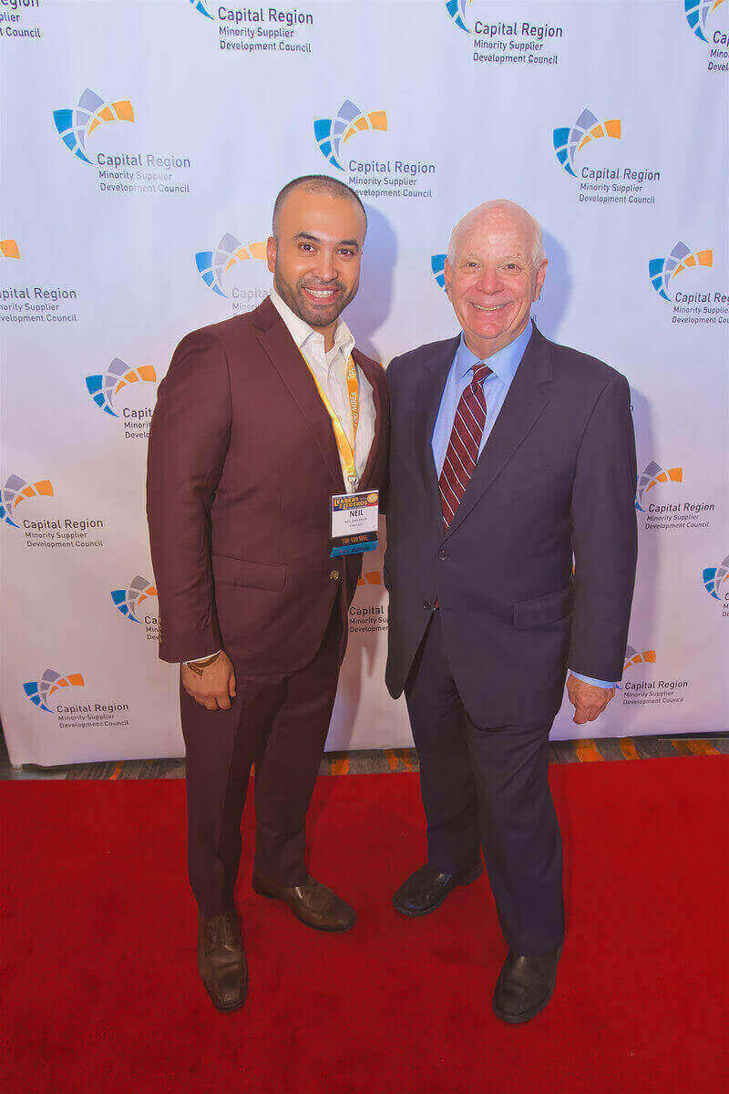 Vidya President Neil Chaudhuri with Maryland Senator Ben Cardin at CRMSDC Leaders and Legends