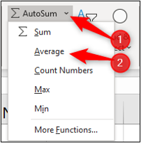 """An arrow pointing to the """"autosum"""" dropdown menu in Excel, and another arrow pointing to the """"average"""" item within the dropdown menu"""