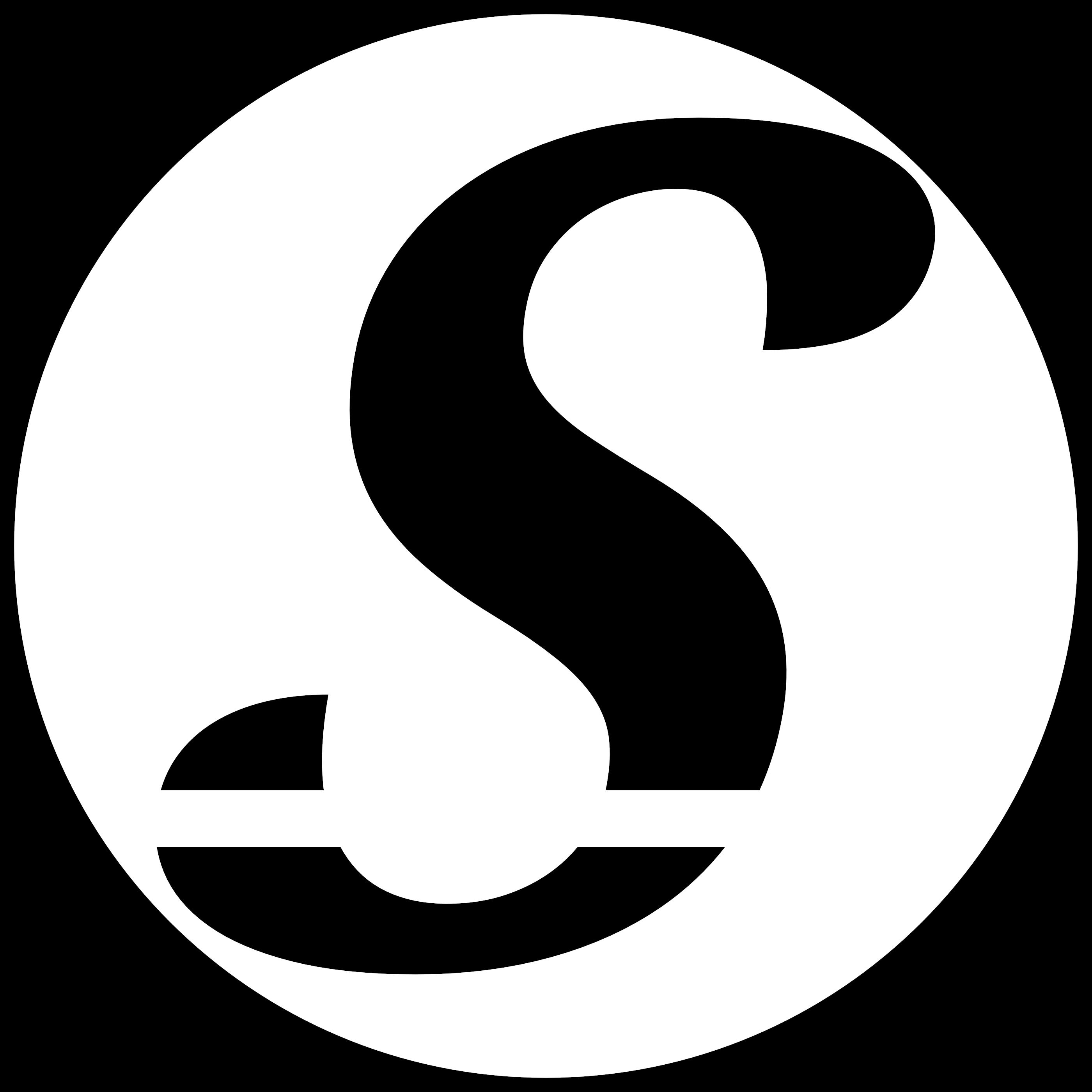 "Sheekore ""S"" monochrome black logo."