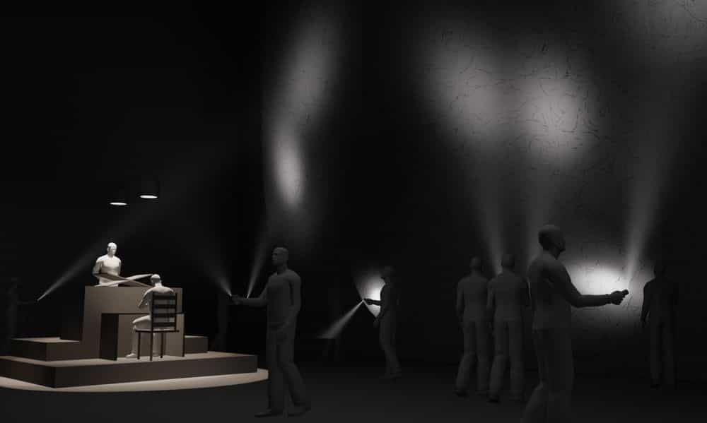 3D rendered visualisation, The installation is conceived to be in a 'dark room' and viewed through torchlight, 'WAR • ROOM • ECHO – Regarding the Pain of Other Cyborgs'