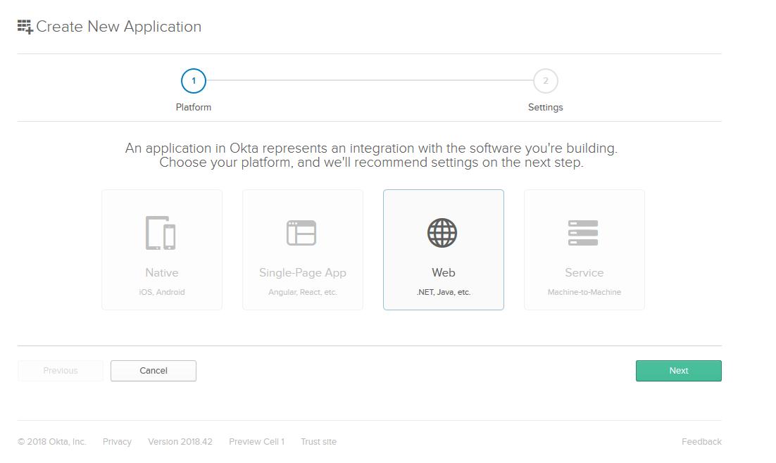 Okta New Web App