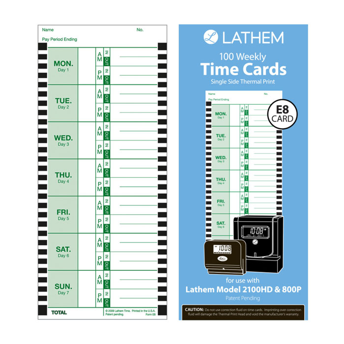 2100HD Weekly Time Cards - Pack of 100