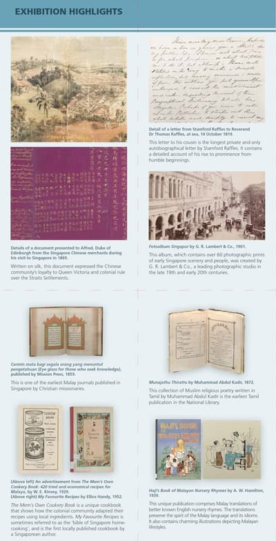 An image with selected exhibition artefacts and its brief information.