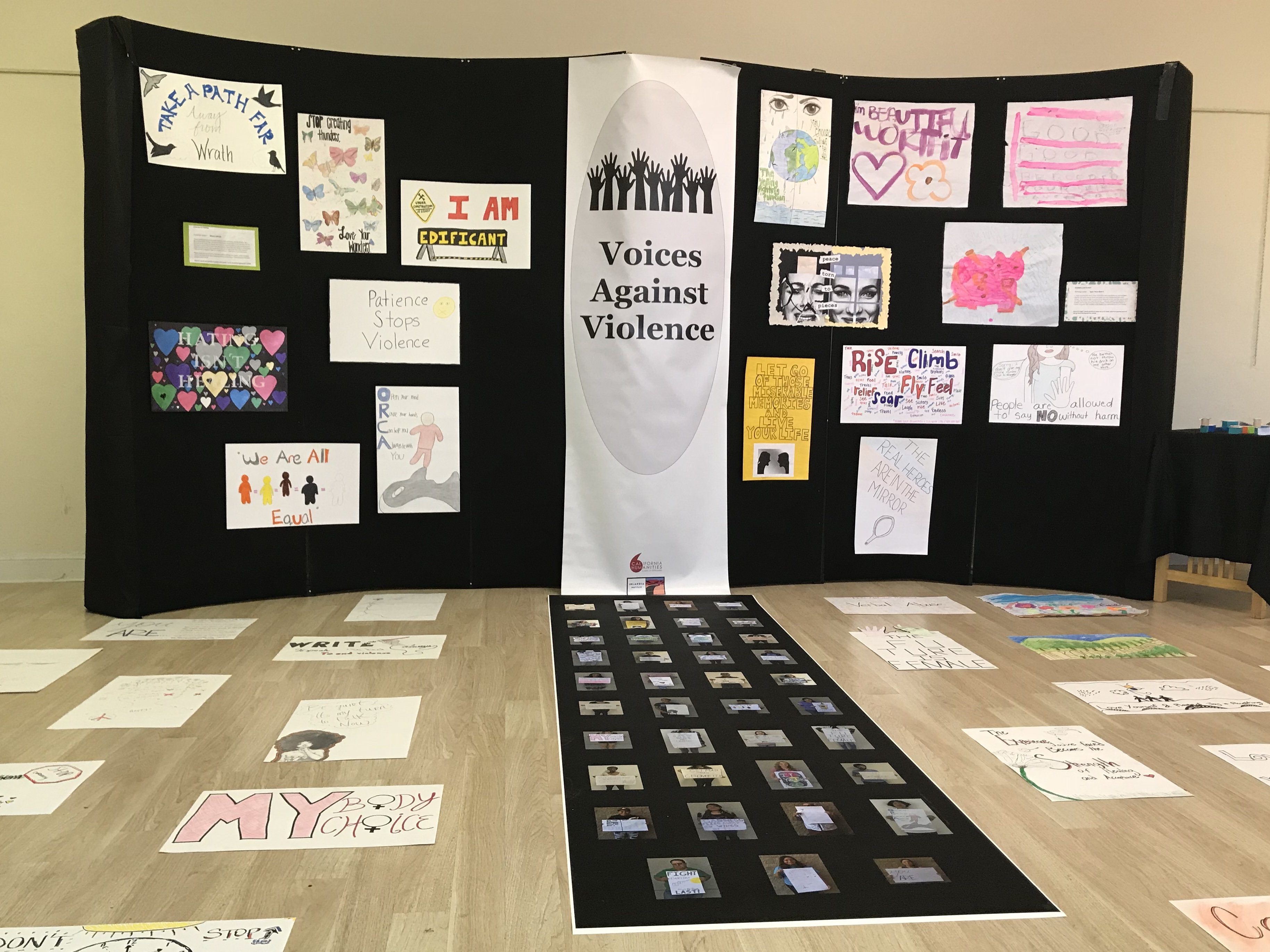 Image of the Voices Against Violence project display.