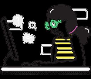 desktop, table and girl