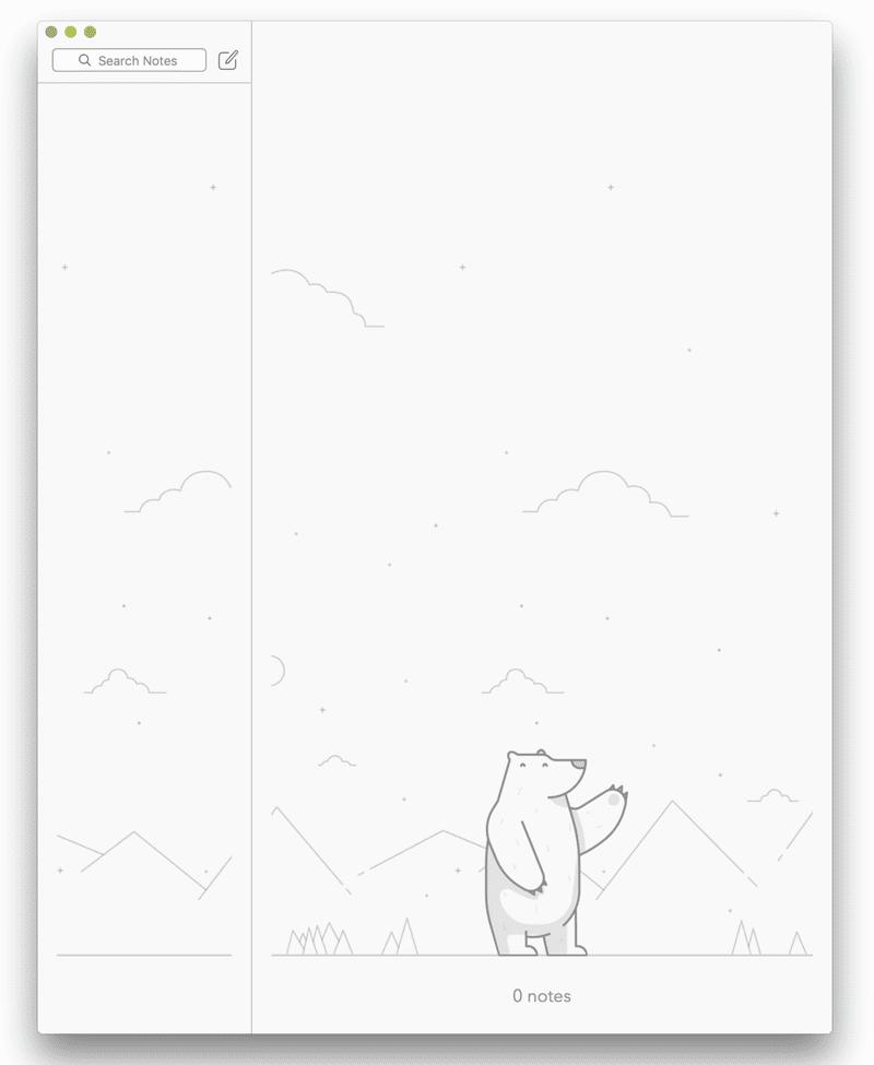 Screenshot of No notes in Bear Markdown editor for MacOS