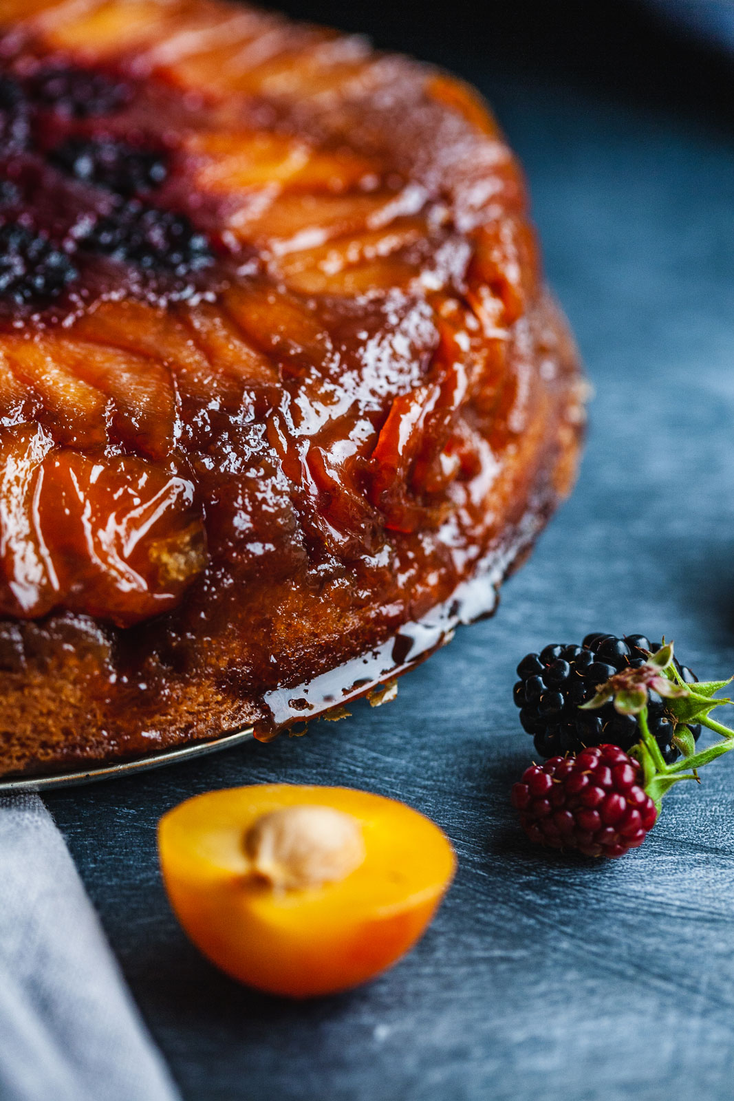 Lemony Plum And Blackberry Upside Down Cake
