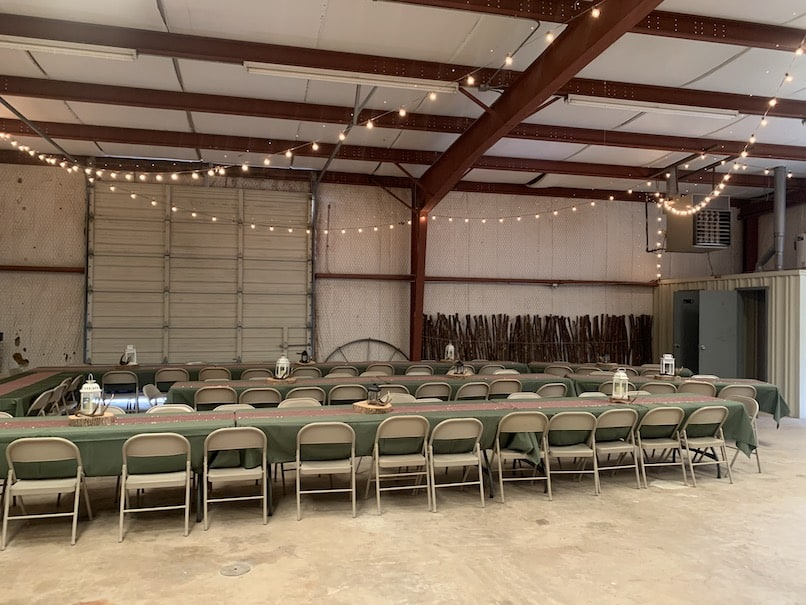 Indoor seating in the barn at Chapel Falls
