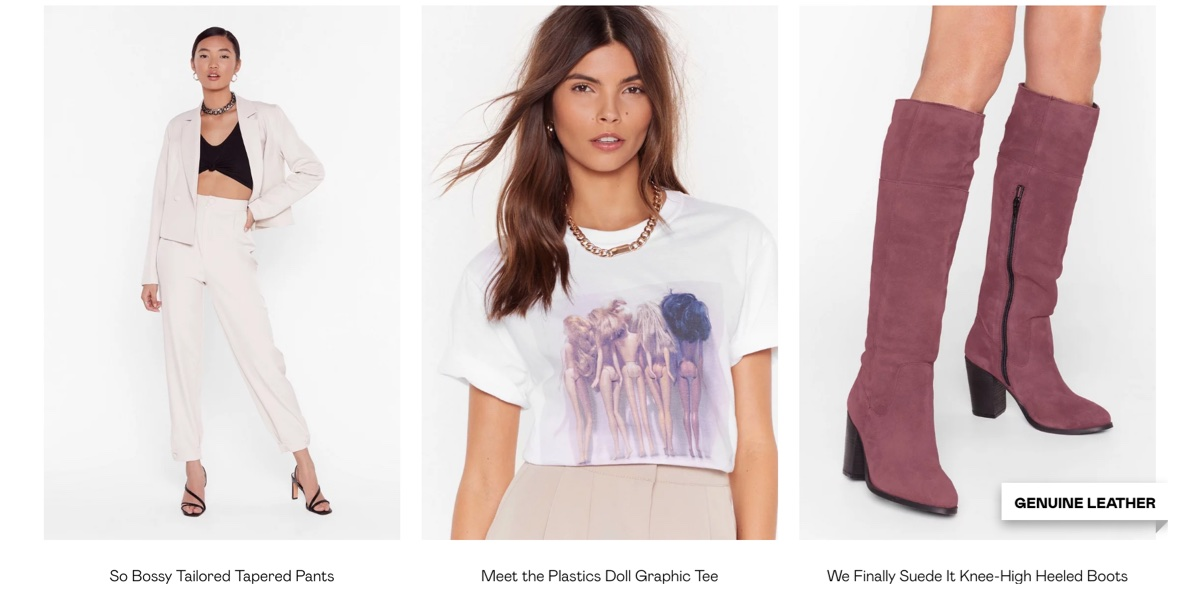 Screenshot of Nasty Gal website featuring text already described