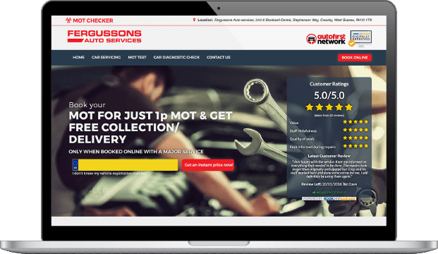 A Full Website for a garage on a laptop