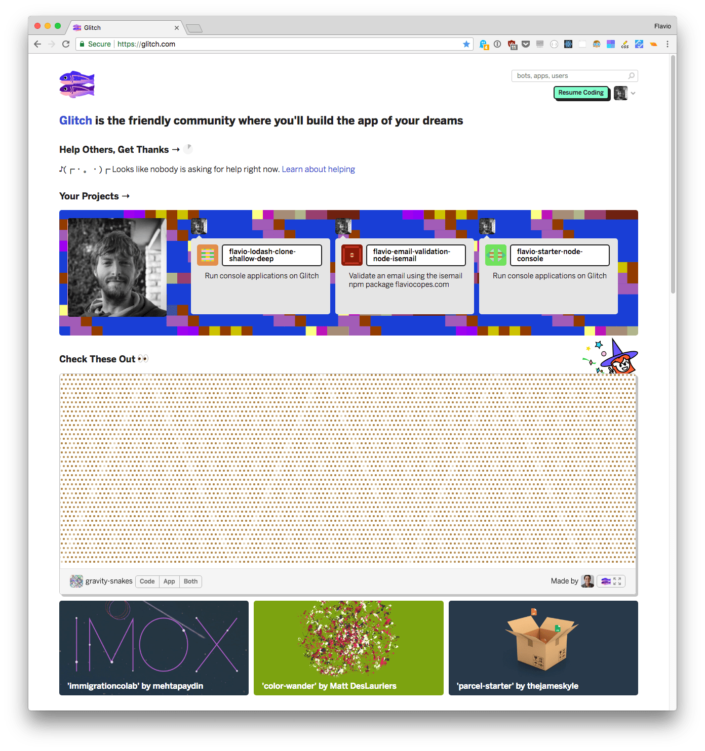 The home page once logged in