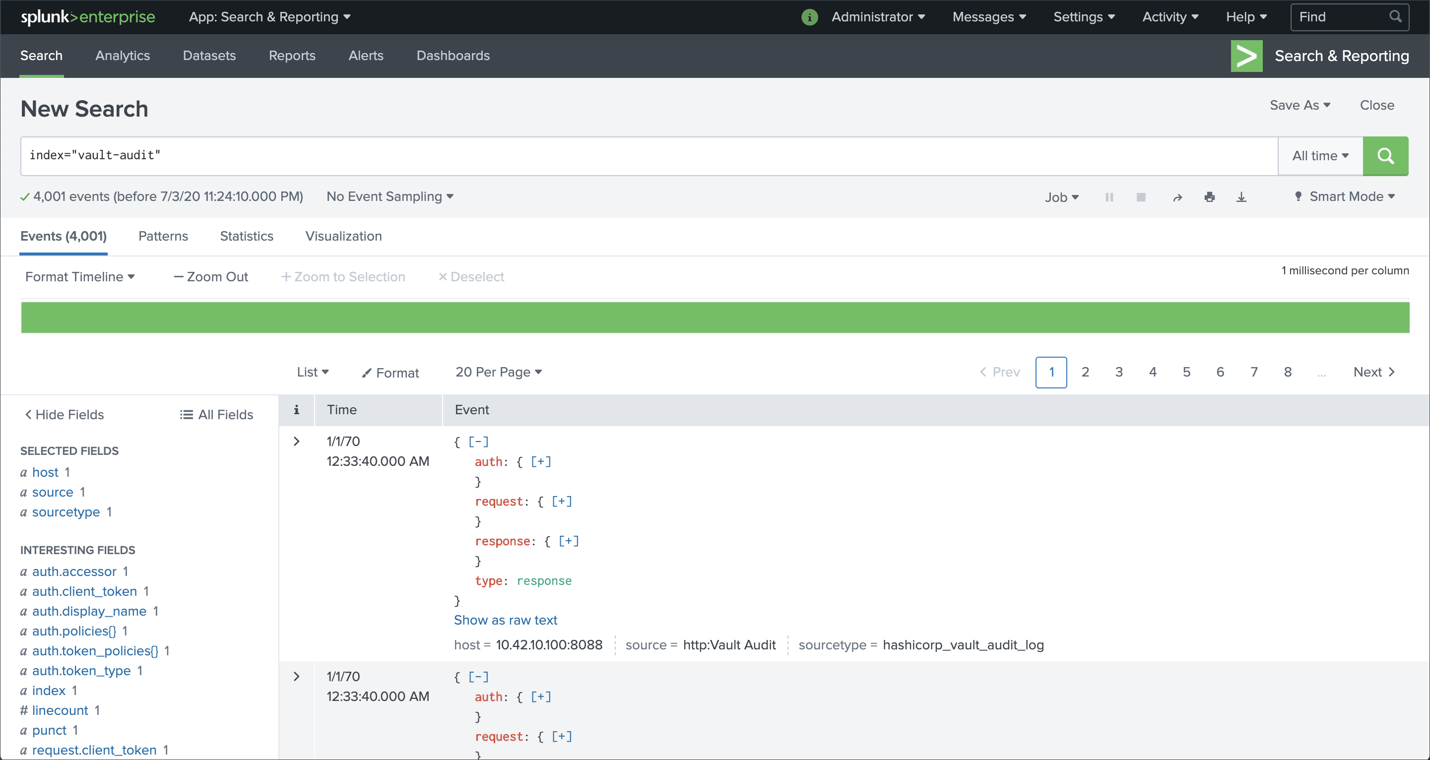 An example of Splunk search functionality