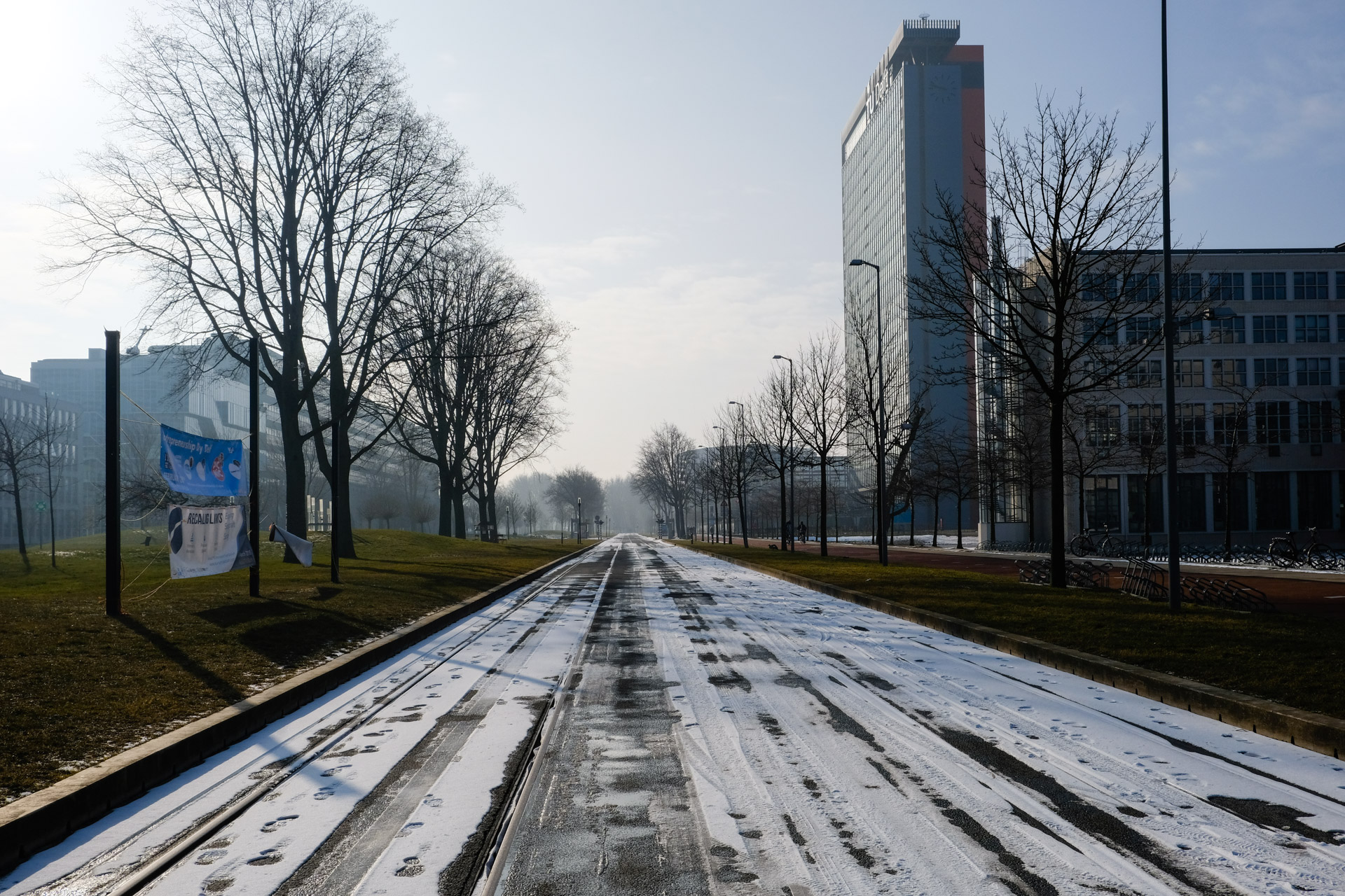 The leftover snow near EWI Building, TU Delft