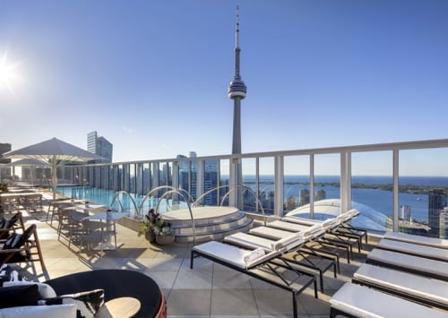The rooftop of the Bisha hotel with a pool and the CN tower in the back