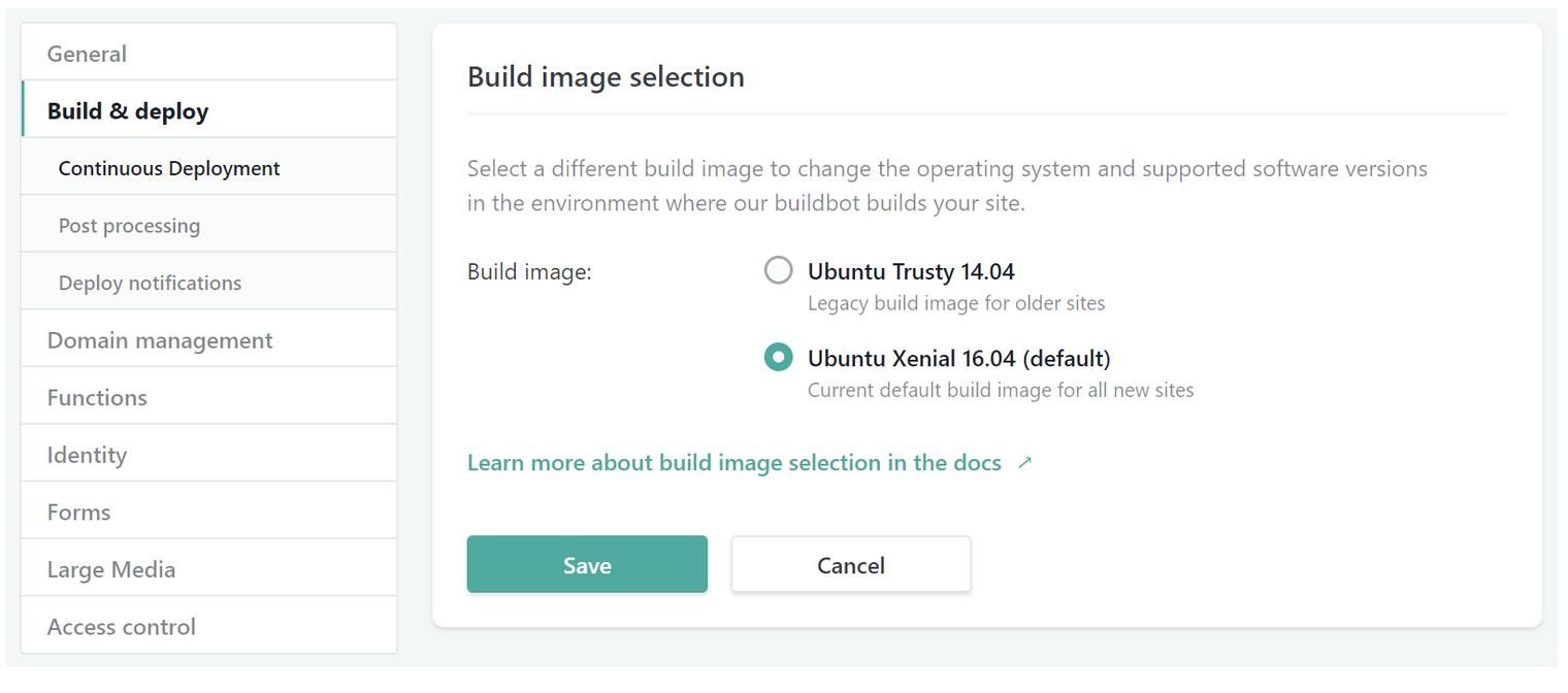 Netlify Ubuntu Image