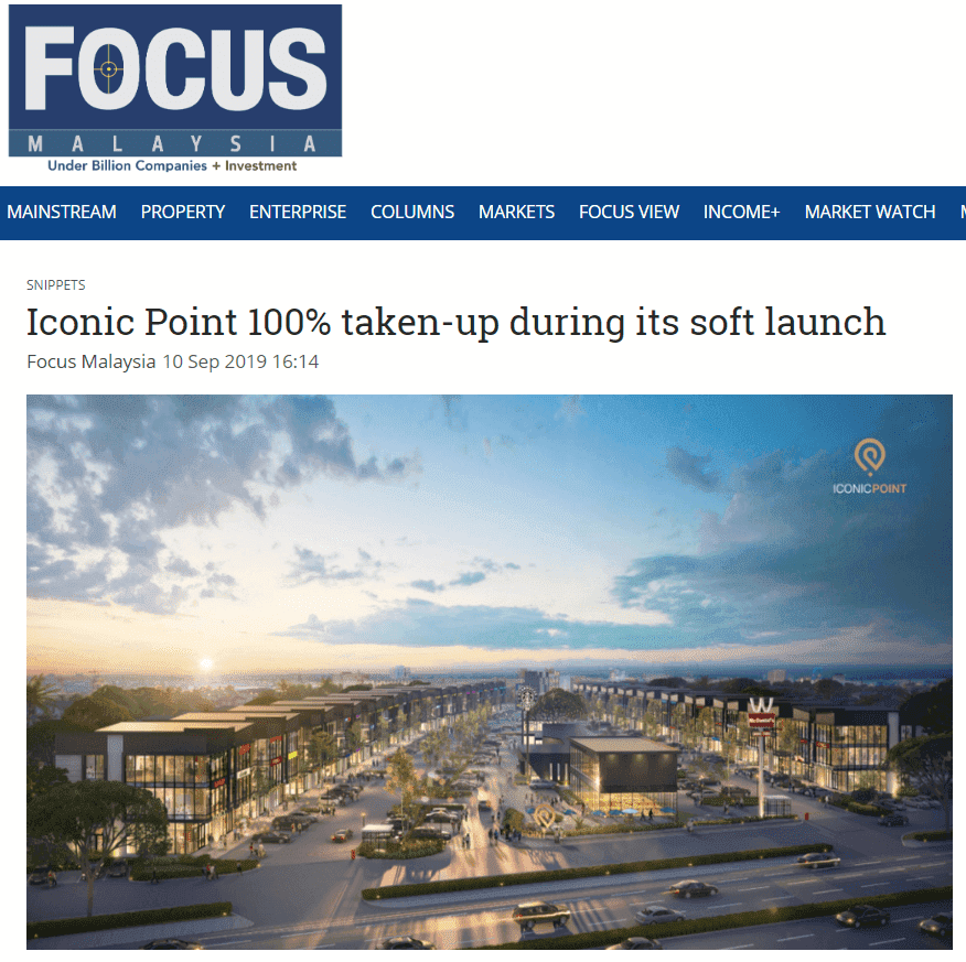 19sep10 focus malaysia iconic point 100  taken up during its soft launch