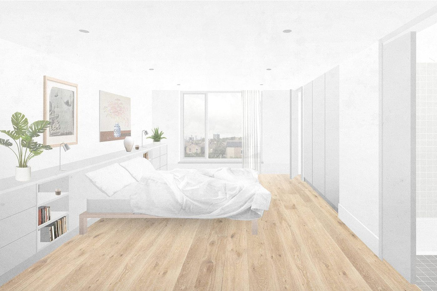Interior view of the master bedroom within the proposed rear dormer extension and loft conversion at Northbrook Road, London designed by From Works.