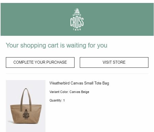 Mark cross cart email