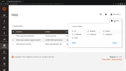 Add paging, column toggles & stickiness to the admin grid