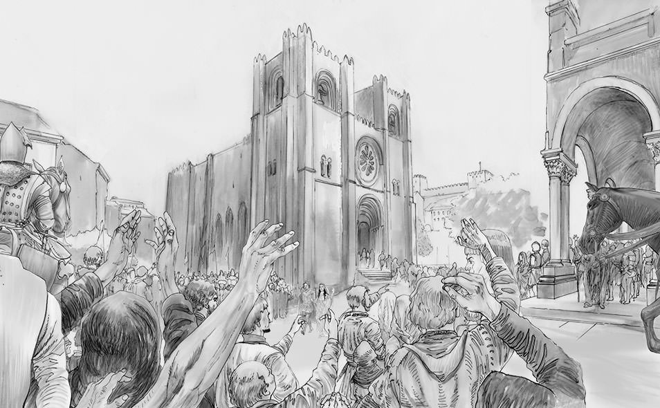 Atoleiros 1384 animatic - Medieval crowd in Lisbon at royal wedding