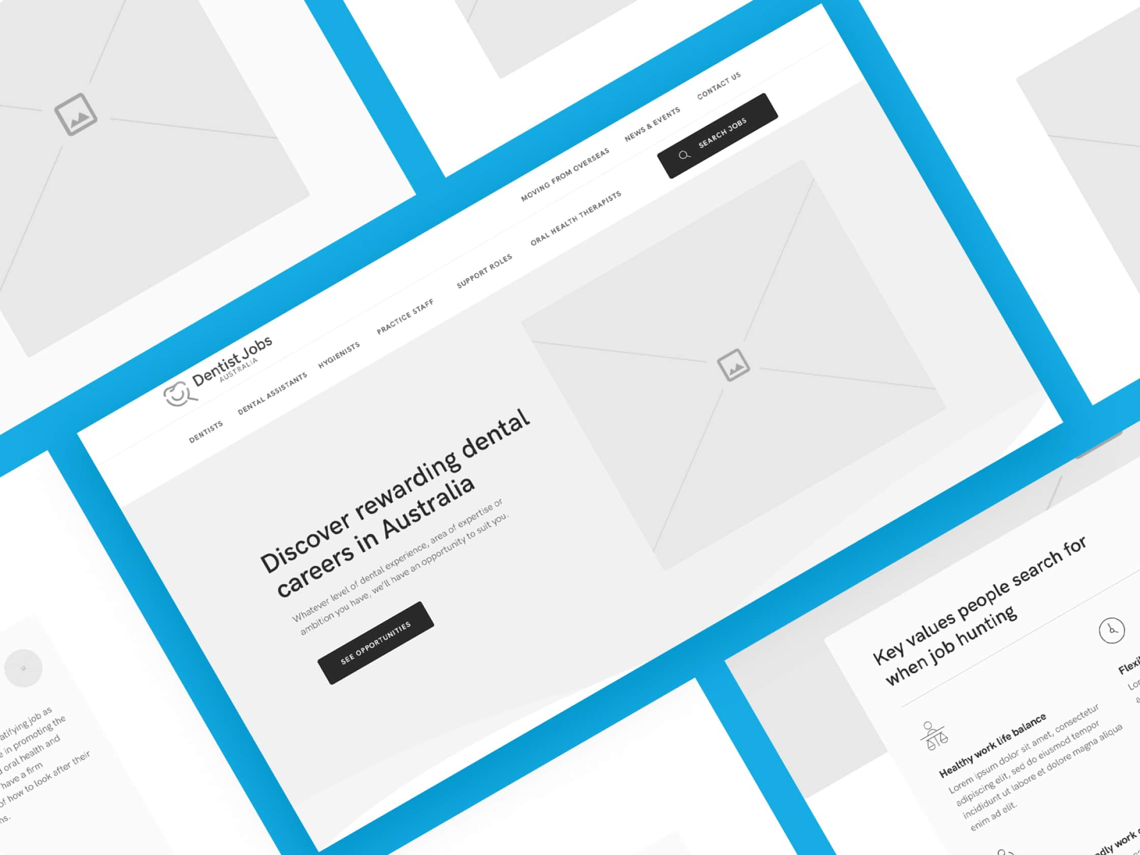 Wireframe of the website
