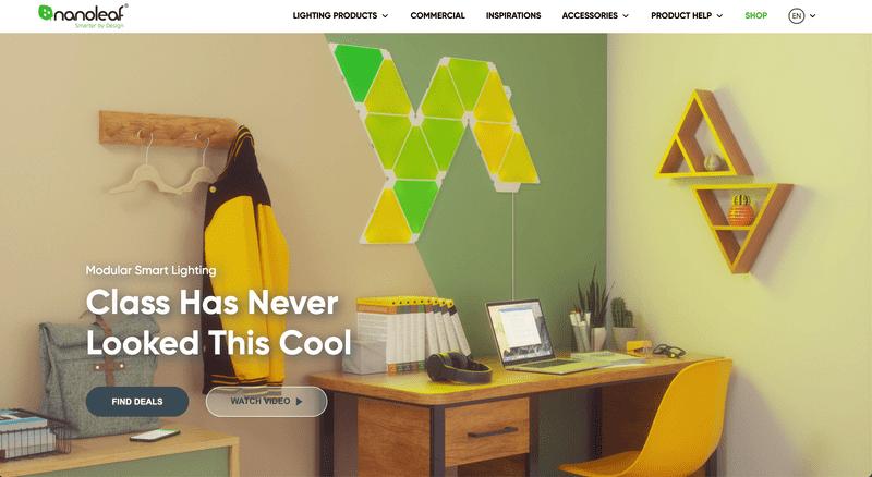 Nanoleaf's Shopify Website Homepage